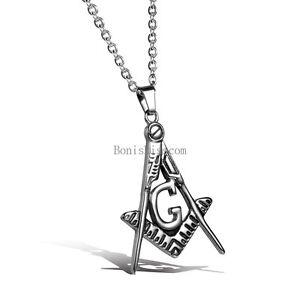 Free Mason Stainless Steel Freemason Masonic Men's Pendant Necklace w Chain