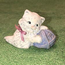 Small Hand Painted White Cat W/ Yarn Ball Figurine
