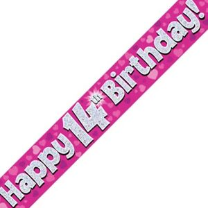 Pink Happy 14th Birthday Foil Party Banner Decoration Hearts Holographic Age 14