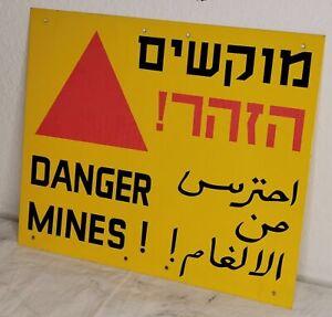 Vorsicht Minen Danger Mines Warnschild Original Minenfeld Israel Mehrsprachig
