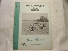 Massey Ferguson Mf 35 Subsoiler Owner Operator Manual