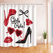 "High Heels Red Lips Shower Curtain Bathroom Waterproof Fabric & 12 Hooks 71*71"""