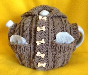 Knitting Pattern Aran Cable Tea Cosy with Pockets - TDS007 - The Dropped Stitch