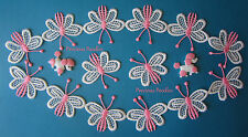 Half Meter Pink & White Butterfly Lace Trim or make 10 Individual Appliques