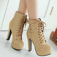 Womens Fashion PU Leather Boots Thick High Heel Shoes Short Boots