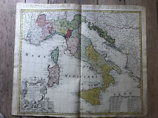 Original Vintage English Hand Colored Map Of Italy 1740