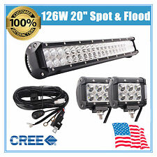 20''inch 126W Cree LED Work Light Bar Offroad Boat Lamp Spot Flood Combo 18W KIT