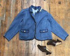 Womens Denim & Co Jean Jacket Plus Size 3x Elbow Patches Brown Faux Leather Trim