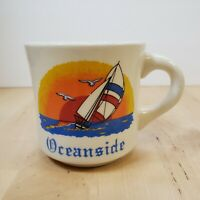 Vintage Oceanside Sailboat Beach Sunset Coffee Mug Diner Style Made in England