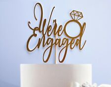 We're Engaged Cake Topper Engagement Ring Any Colour Celebration Glitter Mirror