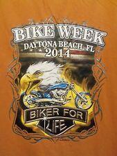 2014 Bike week orange graphic L t shirt Biker 4 Life