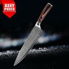8'' Chef Knife Chef High Carbon Stainless Steel Lasered Damascus Veins Wood Hand