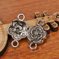 50pcs 20mm Charms Rose Flower pendant Connecter Tibet Silver DIY Jewelry A7232