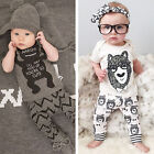 Recién Nacido Bebé Niña Niño Algodón Camiseta + pantalones chándal ropa Conjunto