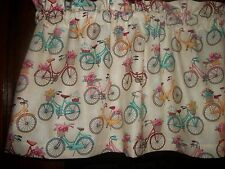 Old Vintage Bicycles Bikes Flowers french bedroom fabric curtain topper Valance