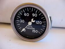 NOS Stewart Warner Oil Pressure Gauge Crescent Needle Curved Glass Lens SEALED!!