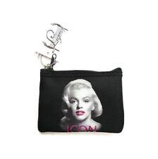 "Marilyn Monroe PINK GLITTER ICON Black Zipper Top 4.5"" Coin Purse Key Chain New"