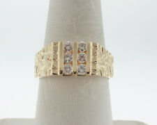 Men's Nugget Style Ring Free Sizing Genuine 1/2ct Diamonds Solid 14k Yellow Gold