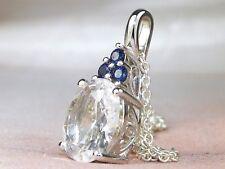"Sterling Silver .925 Crystal Quartz-2.54 & Blue Sapphire Pendant Necklace-18"""