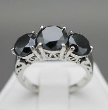 AAA 4.90 ct opaque black 3 solitaire 925 sterling silver engagement ring N R $54