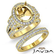 Diamond Engagement Semi Mount Ring Oval Pave Bridal Sets  18k Gold Yellow 3.8Ct