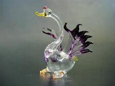 Glass SWAN, Purple Winged Glass Bird, Blown Glass Ornament Elegant Gift, Animal