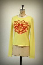 lucien pellat-finet Size S 100% Cashmere Sacred Lotus Flower Nelumbo Nucifera