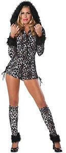 Sexy Snow Leopard Black White Animal Romper Dress Up Halloween Adult Costume