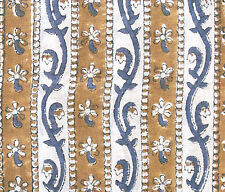 Block Print, Hand Printed Cotton. 2½ Yards. Artisan, India Fabric. Blue, Coffee