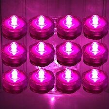 Set of 12 ~ Pink Led Submersible Underwater Tea lights TeaLight Flameless Us