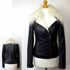 M&s Ltd Edition Faux Leather Fur Trimmed Biker Jacket Size 16 Black
