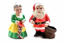 Vintage Ceramic Santa Claus and Mrs Claus- Hand Painted
