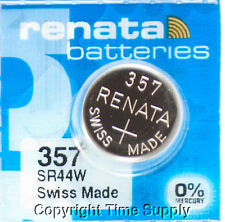 2 pc 357 Renata Watch Batteries SR44W FREE SHIP 0% MERCURY