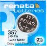 2 pc 357 Renata Watch Batteries SR44W FREE SHIP 0% MERCURY