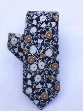 Navy Blue Yellow Floral Flower Skinny Ties Slim tie 6cm Nectie For Men Wedding