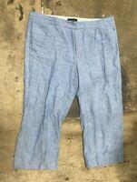 Woman's TALBOTS Blue 100% Linen Cropped Pants Bottoms Size 16