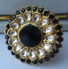 Black White CZ Stone Nice Indian Party Finger Kundan Ring Adjustable Jewelry