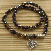 20 pcs AB black glass crystal & tibet silver multilayer bracelets ZH1059