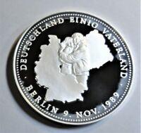 Deutschland einig Vaterland Mauerfall, am 9. Nov 1989  Fein-Silber Medaille PP