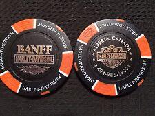 "Harley Davidson Poker Chip (Black & Orange) ""Banff"" Alberta, Canada"