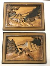 Set 2 Vintage Hand Carved & Stained Wooden Relief Picture Germany Black Forest