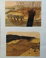 Robert Tavener 2 original signed linocuts Cuckmere Sussex English countryside