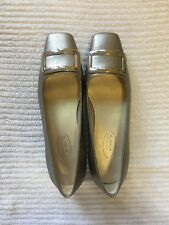 Talbots Gold Leather Flats with Buckle Detail in Size 5