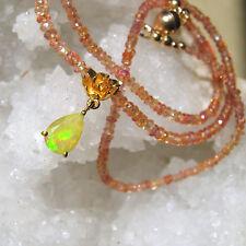 zarte orange  padparadscha  saphir opal kette , 925 silber vergoldet