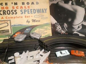 MARX Race 'N Road Cross Over Speedway Set Complete HO Corvette T-Bird Cars & Box