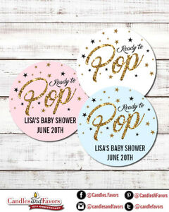Ready To Pop® Round Personalized Baby Shower Sticker Labels   Pop Gold Glitter
