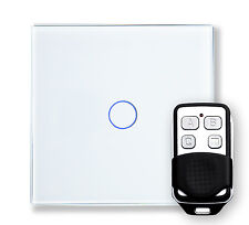 RetroTouch 00363 1 Gang White Glass Remote Control Touch Light Switch with Fob