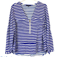 Portmans Womens Blue/White Striped Long Sleeve Blouse Size 12