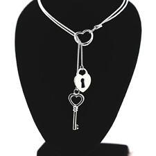 Pendentif Collier coeur clef serrure Argent 925 + chaine