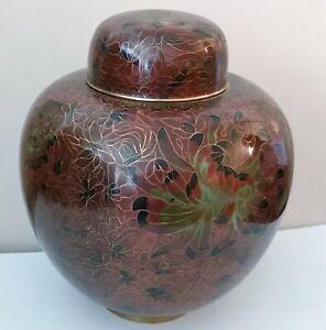 "Vintage Large Chinese cloisonne ginger jar urn brown and green - 9.5"""